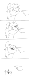 Size: 454x1180 | Tagged: safe, artist:anonymous, derpy hooves, earth pony, human, pony, /mlp/, 4chan, angry, boop, boop denied, bust, comic, drawthread, duo, monochrome, offscreen character, wat