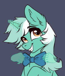 Size: 700x817 | Tagged: safe, artist:28gooddays, lyra heartstrings, pony, unicorn, bowtie, bust, chest fluff, cute, ear fluff, female, gray background, grin, hand, lyrabetes, magic, magic hands, mare, simple background, smiling, solo