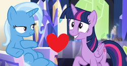 Size: 1800x936 | Tagged: safe, trixie, twilight sparkle, alicorn, all bottled up, celestial advice, female, lesbian, shipping, shipping domino, twilight sparkle (alicorn), twixie
