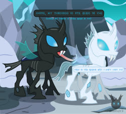 Size: 1313x1189 | Tagged: safe, artist:wheatley r.h., derpibooru exclusive, oc, oc only, changeling, cave, horn, ice, ice cave, ice changeling, rock, snow, solo, speech bubble, tongue out, tongue stuck to pole, translated in the description, vector, watermark, wings