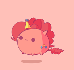 Size: 706x669   Tagged: safe, artist:deicookie, artist:pekou, pinkie pie, :3, beady eyes, blob ponies, chibi, chubbie, chubby, female, floating, hat, party hat, pink background, simple background, solo