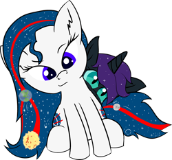 Size: 3317x3088 | Tagged: safe, alternate version, artist:poniidesu, oc, oc only, oc:nasapone, oc:nyx, alicorn, earth pony, pony, alicorn oc, cute, duo, earth, eyebrows, fanfic art, female, filly, hurricane, looking at you, loss (meme), mare, mare in the moon, moon, nyxabetes, raised eyebrow, shooting star, simple background, sitting, stars, sun, transparent background