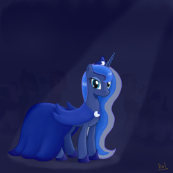 Size: 1500x1500 | Tagged: safe, artist:polkin, princess luna, alicorn, pony, clothes, dress, female, gala dress, looking at you, mare, smiling, solo, spotlight