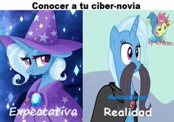 Size: 960x672 | Tagged: artist needed, safe, edit, edited screencap, screencap, trixie, magic duel, alicorn amulet, comparison, expectation vs reality, facial hair, moustache, spanish