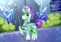 Size: 3200x2200 | Tagged: safe, artist:kaikururu, oc, oc only, oc:crescent star, crystal pony, unicorn, armor, boots, building, bush, crystal, crystal empire, crystal guard armor, crystal unicorn, door, flower, glasses, male, shoes, solo, sparkles, spear, stallion, weapon, window
