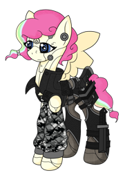 Size: 1044x1469 | Tagged: safe, artist:j053ph-d4n13l, oc, oc only, oc:candy bytes, oc:cheery candy, cyborg, pegasus, pony, alternate hairstyle, alternate universe, camouflage, clothes, commission, cyberpunk, female, gun, handgun, holster, jacket, knife, leather jacket, mare, multicolored hair, pants, pistol, rainbow hair, simple background, solo, transparent background