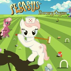 Size: 1024x1024 | Tagged: safe, artist:grapefruitface1, cheerilee, nurse redheart, silver spoon, snails, snips, twist, pony, 70s, album cover, base used, disembodied head, genesis, hand, parody, ponified, ponified album cover