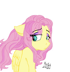 Size: 1280x1326 | Tagged: safe, artist:flutterbug18, fluttershy, pegasus, pony, bust, eye clipping through hair, female, floppy ears, folded wings, looking away, looking down, looking sideways, mare, melancholy, simple background, solo, white background, wings