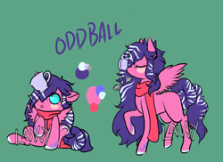 Size: 1100x800 | Tagged: safe, artist:lavvythejackalope, oc, oc only, oc:oddball, pegasus, pony, :o, baby, baby pony, blush sticker, blushing, clothes, colored hooves, cup, open mouth, raised hoof, reference sheet, scarf, simple background, sitting, teacup, text, underhoof