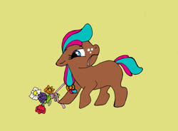 Size: 2853x2102 | Tagged: safe, artist:cavelupa, oc, oc only, oc:blossom, earth pony, pony, bouquet, flower, freckles, mouth hold, ribbon, simple background, solo