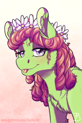 Size: 1181x1772 | Tagged: safe, artist:inuhoshi-to-darkpen, tree hugger, earth pony, pony, :p, blushing, cheek fluff, chest fluff, cute, ear fluff, female, flower, flower in hair, fluffy, huggerbetes, leg fluff, lidded eyes, looking at you, mare, patreon, solo, tongue out