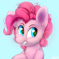 Size: 3000x3000 | Tagged: safe, artist:lilclim, pinkie pie, blue background, bust, chest fluff, cute, diapinkes, ear fluff, high res, shoulder fluff, simple background, smiling, solo