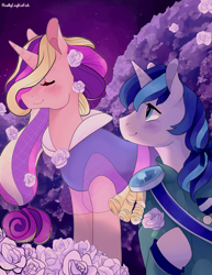 Size: 5100x6600 | Tagged: safe, artist:reallycoykoifish, princess cadance, shining armor, pony, absurd resolution, blushing, clothes, crystal empire, cute, eyes closed, female, flower, male, mare, shiningcadance, shipping, stallion, straight
