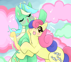Size: 4800x4200 | Tagged: safe, artist:reallycoykoifish, bon bon, lyra heartstrings, sweetie drops, earth pony, pony, unicorn, absurd resolution, blushing, female, lesbian, lyrabon, lyre, mare, musical instrument, open mouth, shipping, wrong eye color