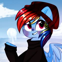 Size: 1000x1000 | Tagged: safe, artist:thieftea, rainbow dash, pegasus, pony, blushing, bust, clothes, cloud, cute, dashabetes, eye clipping through hair, female, hat, mare, sky, smiling, snow, snowball, solo, sweater, toque, winter, winter outfit