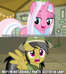 Size: 1280x1440 | Tagged: safe, edit, edited screencap, screencap, clear sky, daring do, pegasus, pony, unicorn, common ground, daring doubt, spoiler:s09e06, spoiler:s09e21, caption, female, image macro, meme, text