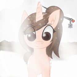 Size: 2000x2000 | Tagged: safe, alternate version, artist:poniidesu, pony, unicorn, /mlp/, blizzard, both cutie marks, brown mane, chest fluff, eye clipping through hair, eyebrows, female, hair bun, hairpin, horn, jewelry, looking at you, magic, mare, mei, mountain, overwatch, ponified, snow, snowfall, solo, video game, winter