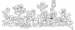 Size: 2048x843 | Tagged: safe, artist:lucas_gaxiola, oc, oc only, oc:charmed clover, oc:digibrony, oc:dusty katt, oc:eilemonty, oc:feather, oc:ilovekimpossiblealot, oc:ink rose, oc:mandopony, oc:mic the microphone, oc:rachet, oc:saberspark, oc:scotty, oc:steve, oc:usagi, earth pony, pegasus, pony, unicorn, eilemonty, female, flying, grin, group, lineart, male, mare, monochrome, ponified, progress, raised hoof, sibsy, sketch, smiling, stallion, tara strong, upside down, wip