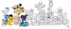 Size: 2048x862 | Tagged: safe, artist:lucas_gaxiola, oc, oc only, oc:charmed clover, oc:digibrony, oc:dusty katt, oc:eilemonty, oc:feather, oc:ilovekimpossiblealot, oc:ink rose, oc:mandopony, oc:mic the microphone, oc:rachet, oc:saberspark, oc:scotty, oc:steve, oc:usagi, earth pony, pegasus, pony, unicorn, body pillow, eilemonty, female, flying, grin, group, lineart, male, mare, partial color, ponified, progress, raised hoof, sibsy, sketch, smiling, stallion, tara strong, upside down, wip