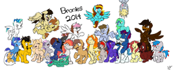 Size: 3856x1564 | Tagged: safe, artist:lucas_gaxiola, oc, oc only, oc:charmed clover, oc:digibrony, oc:dusty katt, oc:eilemonty, oc:feather, oc:ilovekimpossiblealot, oc:ink rose, oc:mandopony, oc:mic the microphone, oc:rachet, oc:saberspark, oc:scotty, oc:steve, oc:usagi, earth pony, pegasus, pony, unicorn, eilemonty, female, flying, grin, group, male, mare, ponified, raised hoof, sibsy, sketch, smiling, stallion, tara strong, upside down