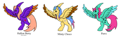 Size: 2208x744 | Tagged: safe, artist:chili19, oc, oc only, harpy, monster pony, original species, horn, paw prints, simple background, white background, wings
