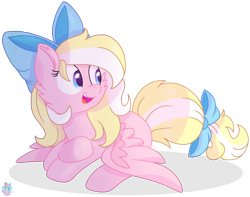 Size: 1882x1480 | Tagged: safe, artist:rainbow eevee, oc, oc only, oc:bay breeze, pegasus, pony, blonde, bow, bowtie, cute, daaaaaaaaaaaw, female, gradient eyes, hair bow, happy, looking at something, looking away, mare, multicolored eyes, multicolored hair, open mouth, pegasus oc, prone, simple background, solo, spread wings, tail bow, transparent background, vector, wings