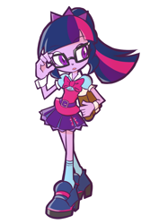 Size: 800x1200 | Tagged: safe, artist:rvceric, sci-twi, twilight sparkle, equestria girls, equestria girls series, book, cuffs (clothes), cute, female, open mouth, simple background, solo, twiabetes, white background