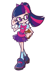 Size: 800x1200 | Tagged: safe, alternate version, artist:rvceric, sci-twi, twilight sparkle, human, equestria girls, equestria girls series, book, clothes, cuffs (clothes), cute, female, human coloration, humanized, open mouth, simple background, skirt, solo, twiabetes, white background