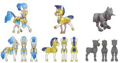 Size: 4200x2200 | Tagged: safe, artist:jackiebloom, earth pony, pony, unicorn, armor, braided tail, details in the description, eyes closed, galloping, headcanon, headcanon in the description, heavy armor, helmet, hoof shoes, long description, plate armor, royal guard, royal guard armor, simple background, transparent background, white background