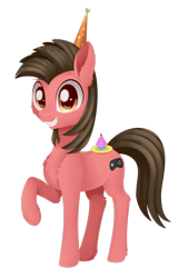 Size: 1010x1496 | Tagged: safe, artist:dusthiel, oc, oc:ace play, earth pony, pony, cupcake, food, hat, male, party hat, simple background, solo, stallion, transparent background