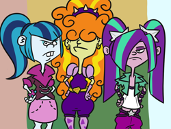 Size: 800x600 | Tagged: safe, artist:jargon scott, edit, adagio dazzle, aria blaze, sonata dusk, equestria girls, asiago cheese bread, cursed image, disguise, disguised siren, ed edd n eddy, kanker sisters, the dazzlings, the kanklings