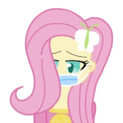 Size: 960x960 | Tagged: safe, artist:moonsetter, fluttershy, butterfly, human, coronavirus, female, hairpin, head, humanized, mask, simple background, solo, white background