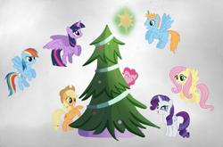 Size: 677x447 | Tagged: safe, applejack, fluttershy, pinkie pie, rainbow dash, rarity, twilight sparkle, oc, oc:harmony star, alicorn, alicorn oc, christmas, christmas tree, holiday, mane six, tree, twilight sparkle (alicorn)