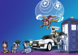 Size: 1280x905 | Tagged: safe, artist:chopsticks, oc, oc only, oc:chopsticks, oc:hors, oc:tympany, earth pony, pegasus, back to the future, bowtie, car, chest fluff, colt, delorean, doctor who, ear fluff, female, filly, flying, glasses, hoof fluff, male, mare, mouth hold, paintbrush, self ponidox, stallion, sunglasses, tardis, time travel