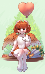 Size: 1600x2610 | Tagged: safe, artist:peachmayflower, oc, oc only, pegasus, pony, semi-anthro, balloon, blushing, bouquet, cheek fluff, ear fluff, female, flower, heart balloon, mare, shoulder fluff, sitting, solo, unshorn fetlocks