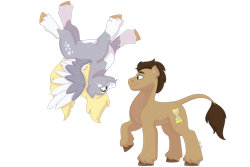 Size: 1280x854   Tagged: safe, artist:itstechtock, derpy hooves, doctor whooves, time turner, pony, doctorderpy, female, male, shipping, simple background, straight, tongue out, transparent background, upside down