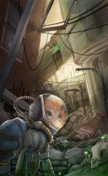 Size: 1024x1673 | Tagged: safe, artist:batonya12561, oc, oc only, oc:rusty gears, earth pony, pony, fallout equestria, fallout, hazmat suit, nuka cola, post-apocalyptic, radiation suit, ruins, solo