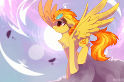 Size: 2449x1632 | Tagged: safe, artist:mirtash, spitfire, pegasus, pony, chest fluff, ear fluff, female, goggles, mare, moon, night, outdoors, profile, sky, smiling, solo, spread wings, stars, wings