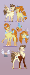 Size: 1887x4696 | Tagged: safe, artist:bunnari, pound cake, pumpkin cake, pegasus, pony, unicorn, blushing, body freckles, bow, brother and sister, clothes, colt, duo, female, filly, freckles, hair bow, jacket, male, mare, older, older pound cake, older pumpkin cake, siblings, stallion, tail bow, twins, unshorn fetlocks