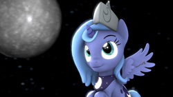 Size: 1920x1080 | Tagged: safe, artist:spinostud, princess luna, alicorn, pony, 3d, cartographer's cap, female, filly, hat, moon, source filmmaker, woona, younger