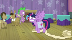Size: 1920x1080 | Tagged: safe, screencap, doctor whooves, matilda, spike, time turner, twilight sparkle, alicorn, dragon, a trivial pursuit, spoiler:s09e16, bag, saddle bag, scroll, twilight sparkle (alicorn), winged spike