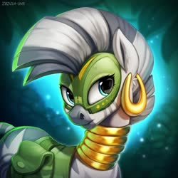 Size: 1280x1280 | Tagged: safe, artist:zazush-una, zecora, zebra, alternate timeline, badass adorable, bag, chrysalis resistance timeline, cute, ear piercing, earring, face paint, female, jewelry, mare, neck rings, piercing, resistance leader zecora, saddle bag, solo, zecorable