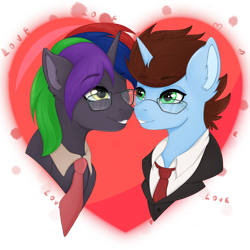 Size: 4050x4050 | Tagged: safe, oc, oc:coda, pony, unicorn, couple, gay, glasses, green eyes, heart, holiday, looking at each other, love, male, multicolored hair, nose to nose, png, simple background, sticker, transparent background, valentine, valentine's day, ych result