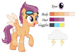 Size: 1708x1232 | Tagged: safe, artist:pink-soul27, oc, oc:cloudy thunder, pegasus, pony, female, mare, offspring, parent:rumble, parent:scootaloo, parents:rumbloo, reference sheet, simple background, solo, transparent background