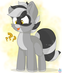 Size: 1343x1573 | Tagged: safe, artist:rainbow eevee, oc, oc only, oc:bandy cyoot, hybrid, pony, raccoon, raccoon pony, adorkable, confused, confusion, cute, dork, female, question mark, simple background, solo, tongue out, yellow background, yellow eyes