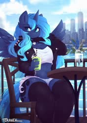 Size: 1200x1694 | Tagged: safe, artist:teranen, princess luna, alicorn, anthro, alternate design, chest fluff, city, cityscape, clothes, daisy dukes, detailed background, ear fluff, horn, jacket, leather jacket, shorts, sitting, stockings, thick, thigh highs, wings