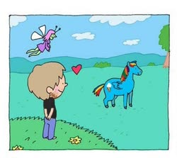 Size: 338x302 | Tagged: safe, editor:pcaf, rainbow dash, fairy, human, pegasus, pony, antenna, antennae, black shirt, blue sky, brony, brown hair, clothes, cloud, cropped, drawing, drawthread, flower, grass, grass field, happy, heart, hooves, image for ants, meadow, neckbeard, needs more jpeg, pants, partly cloudy, pasture, picture for breezies, scattered clouds, sky, smiling, tree