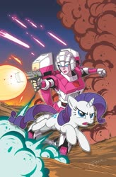 Size: 1341x2047 | Tagged: safe, artist:jack lawrence, idw, rarity, pony, robot, unicorn, spoiler:friendship in disguise, arcee, blaster, clash of hasbro's titans, cover art, crossover, explosion, friendship in disguise, transformers