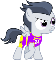 Size: 2315x2500 | Tagged: safe, artist:frownfactory, artist:jawsandgumballfan24, edit, rumble, pegasus, pony, basketball, clothes, colt, foal, jersey, lakers, los angeles lakers, male, nba, shorts, simple background, solo, transparent background, vector