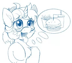 Size: 1240x1080 | Tagged: safe, artist:drtuo, artist:drtuo4, oc, oc only, pony, unicorn, burger, chest fluff, drink, fast food, food, french fries, glasses, hungry, monochrome, solo, thought bubble, tongue out